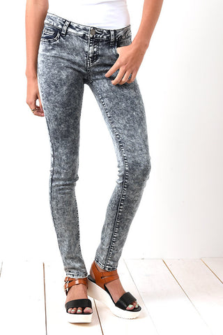 Acid wash stretch jeans