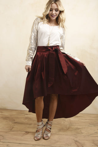 Red Taffeta High low Skirt