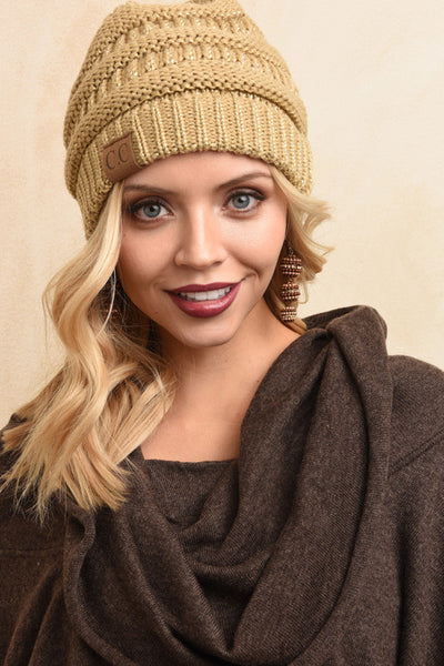 Gold cable knit beanie