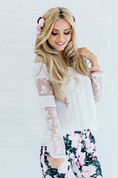 Flora Lace Peasant Top