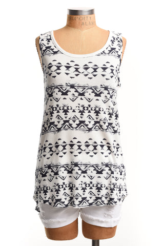 Aztec inspired navy tank with back detail