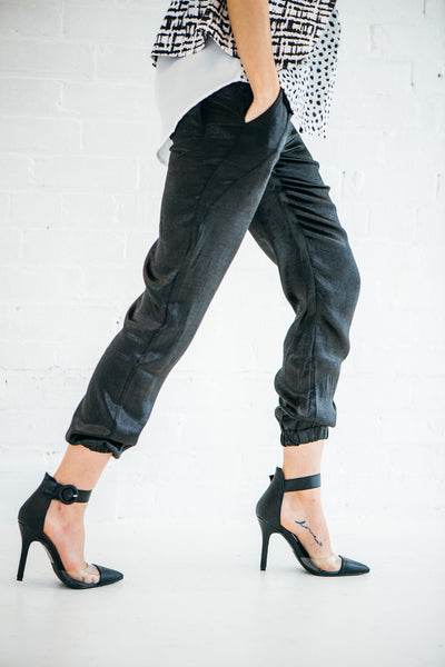 Washed Satin Drawstring Jogger Pants