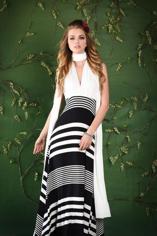 Wound Up Graphic Stripe Maxi Dress