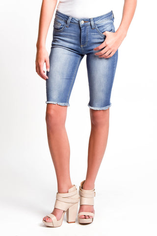 Medium Wash Denim Bermuda Shorts