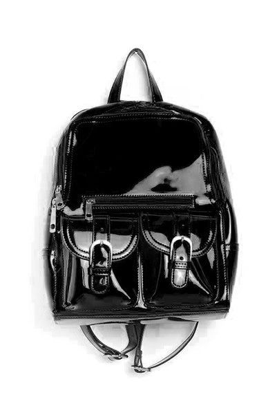 Black patent leather backpack/purse