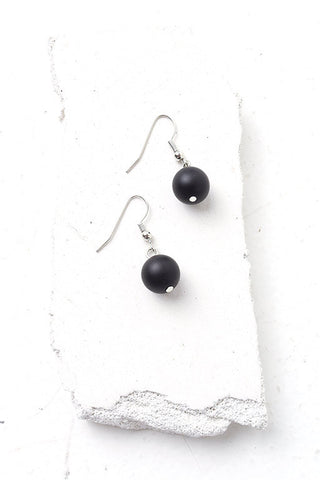 Aleria black sphere earrings