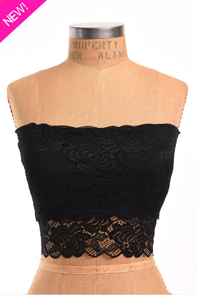 Black stretch lace band bra