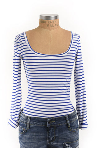 Bold blue and white striped scoop neck top