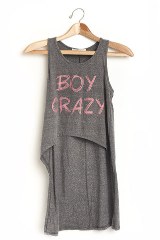Boy crazy high low gray tank