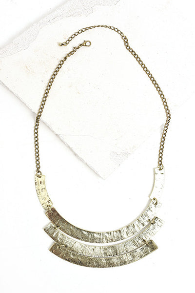 Brass bib statement necklace