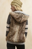 Brown faux fur vest with hood