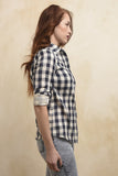 Navy buffalo check button up top