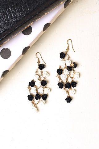 Black and white floral chandelier earrings