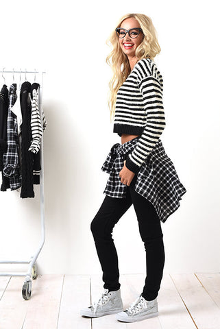 Black and white fuzz lovin' crop sweater