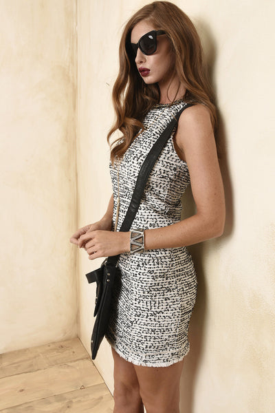 Boucle black and white dress