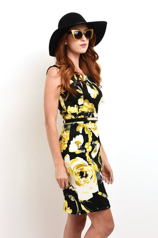 Black and yellow floral dress