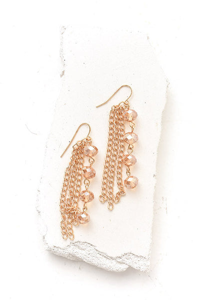 Champaign chain and crystal bead drop earrings