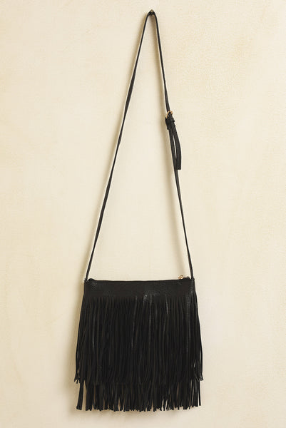 Black fringe moto bag
