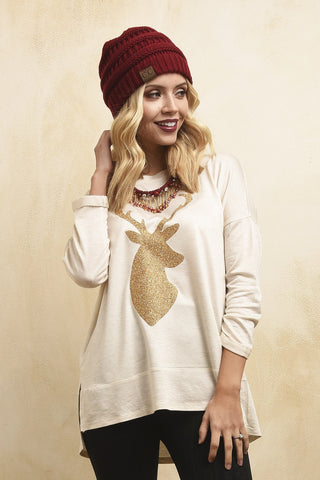 Gold deer head holiday top
