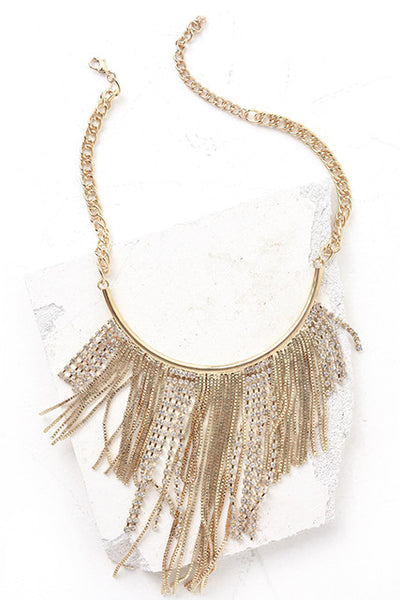 Gold fringe statement necklace