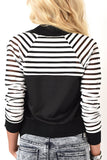 Bold black and white striped burnout sleeves