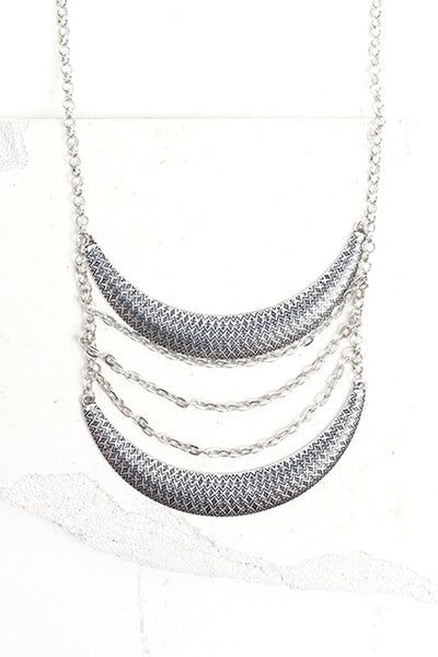 Silver cascade long necklace