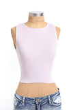 Lilac stretch knit crop