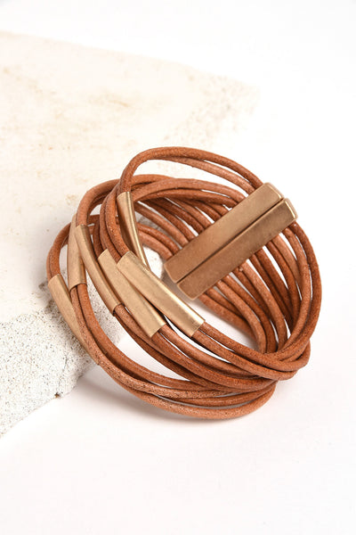 Magnetic leather cuff bracelet