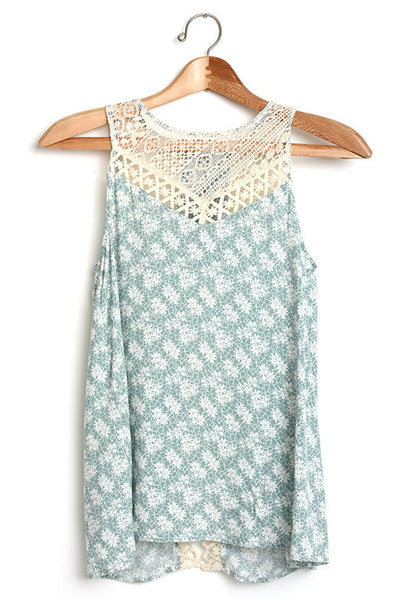 Floral print mint a-line tank top with open back