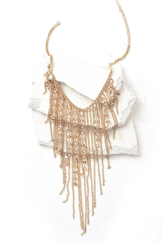 Gold fringe and beads necklace