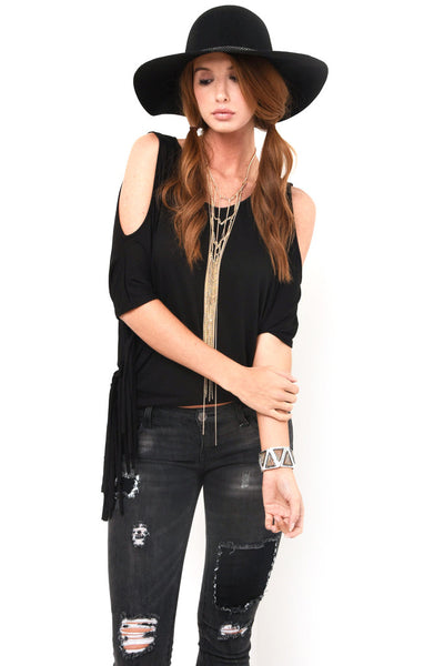Black cutout shoulder fringe top