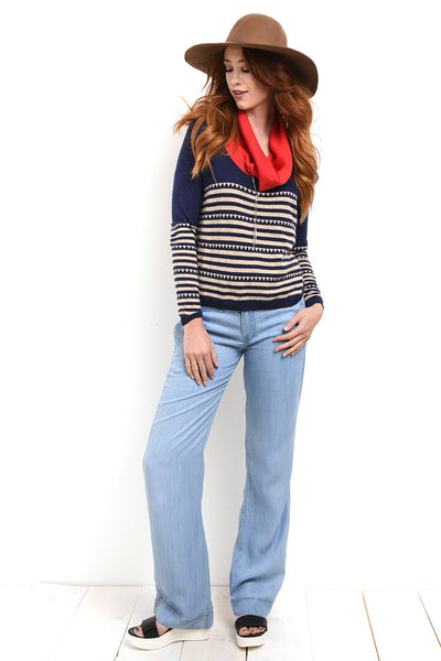 Wide legged chambray pants