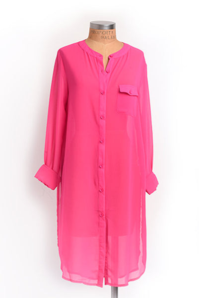 Fuchsia sheer tunic