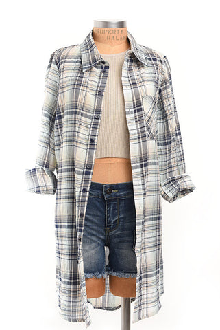 Beach bum extra long plaid button up top