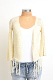Cream knit crop coverup with fringe