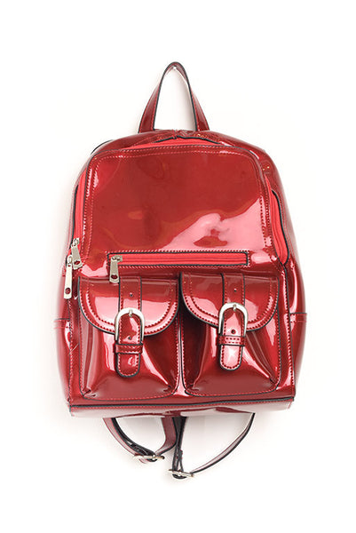Red patent leather backpack / purse