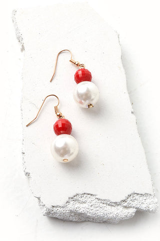 Color block faux pearl earrings