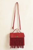 Cherry red fringe purse