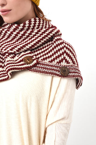 Chunky knit chevron scarf with wood buttons