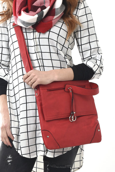Red vegan leather saddle bag