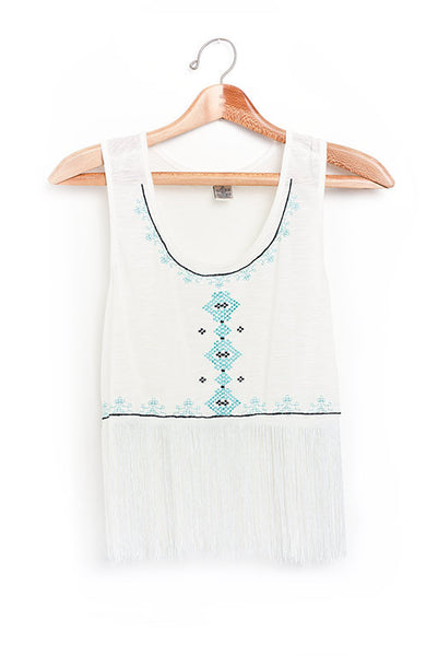 Freestyle mint and white fringe tank top