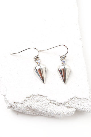 Vetta faux spike silver earrings