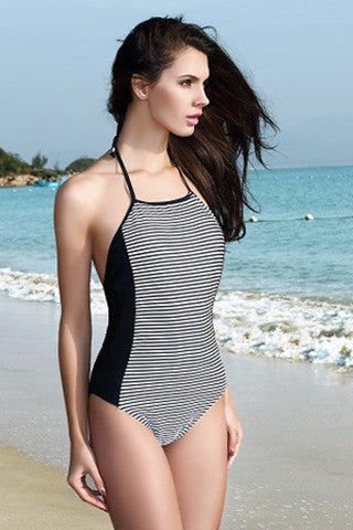 Black/White Stripe Halter One-Piece