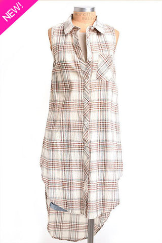 Sleeveless plaid button up long top
