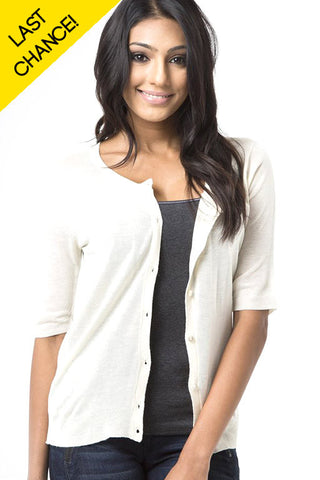 Oatmeal Basic Short Sleeve Cardigan