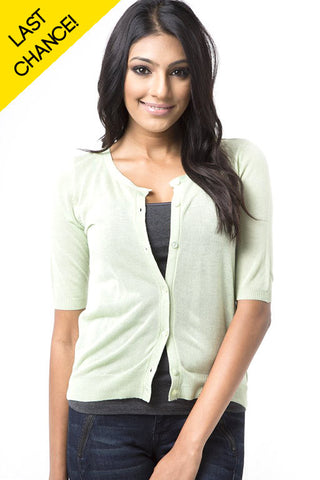 Light Green Basic Short Sleeve Cardigan