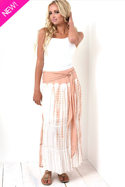 Tie-dye maxi skirt with attached wrap belt