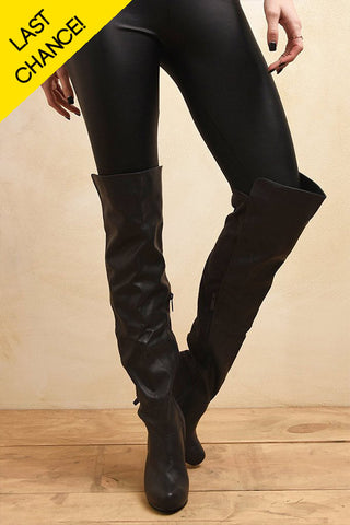 Victoria Over The Knee Boots Charcoal