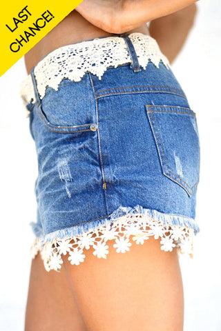 Daisy Denim Cutoff Shorts