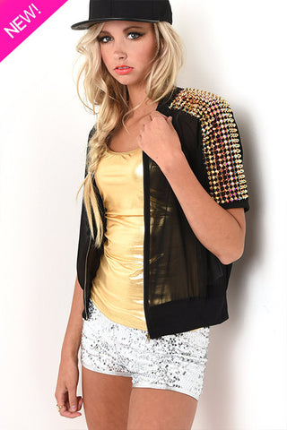 Studded black sheer jacket